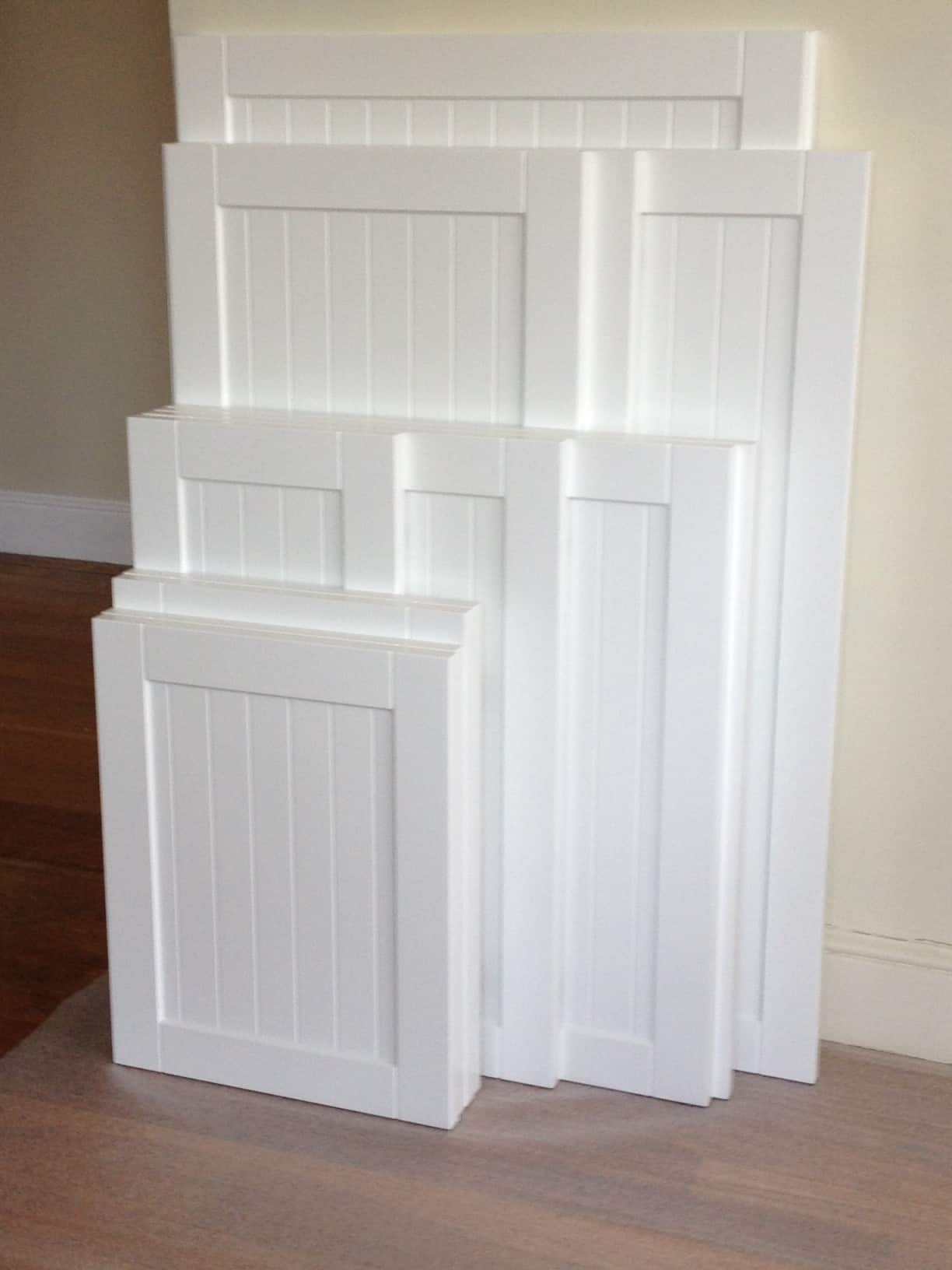 Shaker style cabinet with beadboard accent