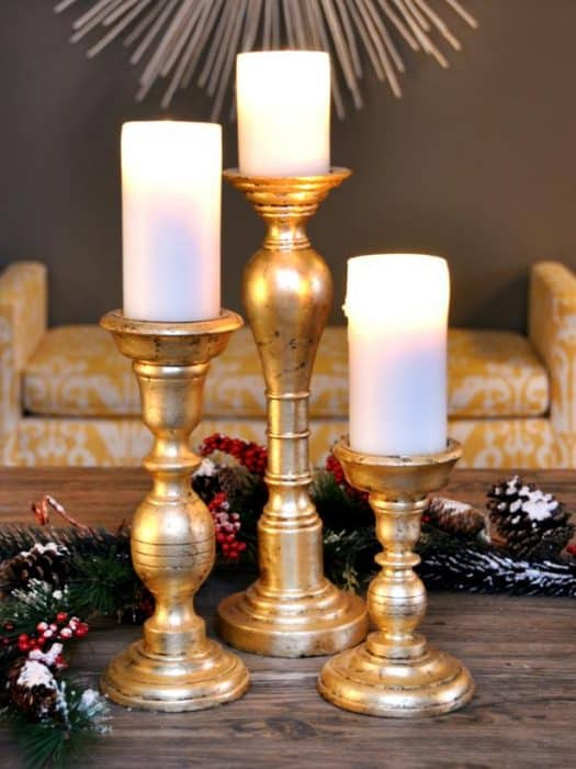 Gold leaf crafts: holiday candlesticks