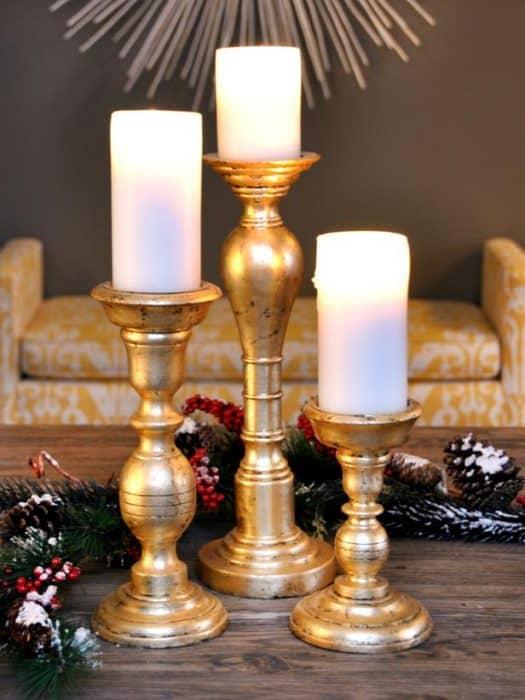 Gold leaf crafts: holiday candlesticks