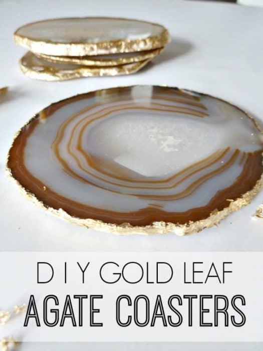 Gold leaf crafts:  agate coasters