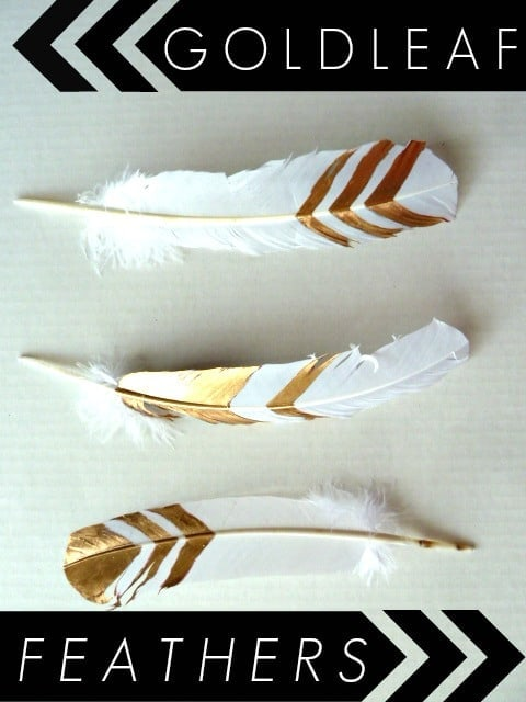 Gold leaf crafts: gold leaf feathers