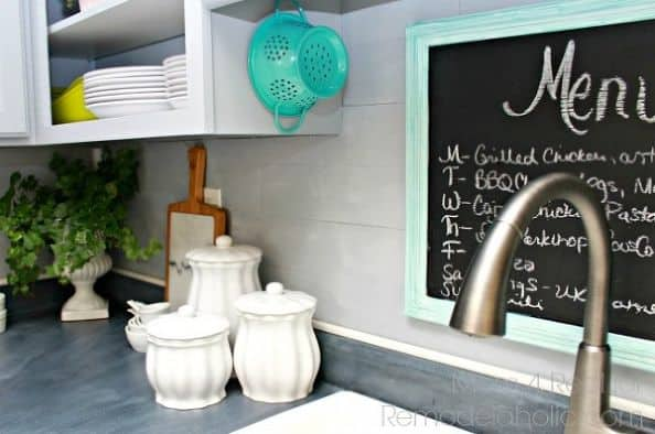 faux hardwood kitchen backsplash