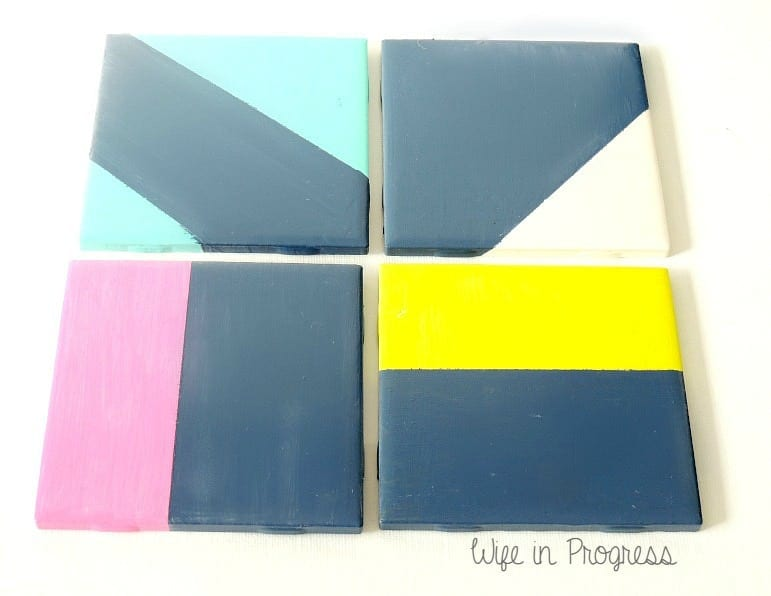 DIY painted tile coasters