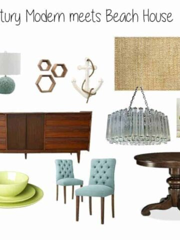 A collection of decor items such as a round, wooden table, green place settings, a dark wood side table and light blue, upholstered chairs