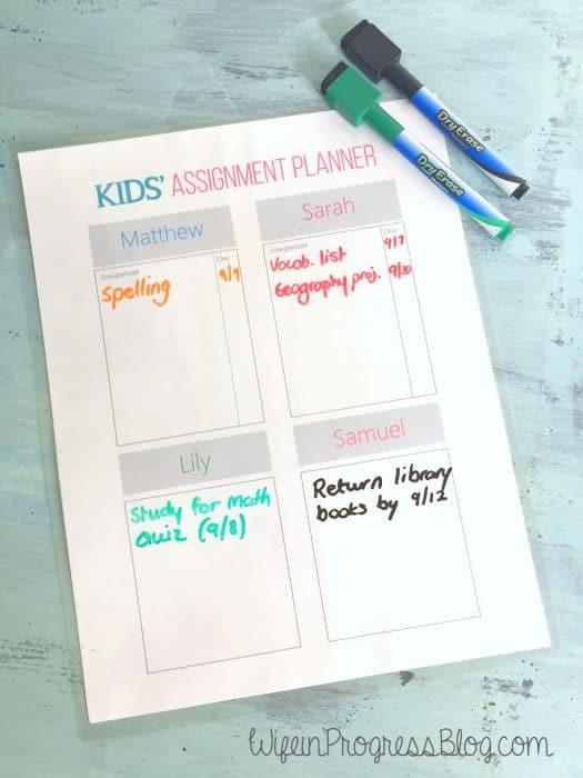 Kids Assignment Planner
