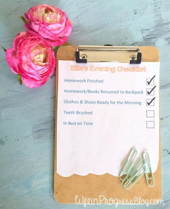 Free Printable Evening Routine Checklist | Wife in Progress