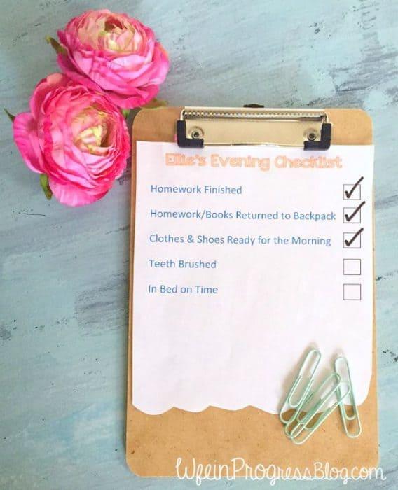 Free Printable Evening Routine Checklist | Wife in Progress