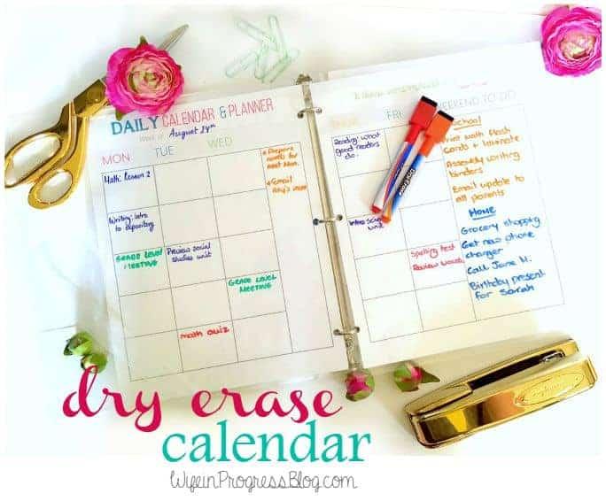 Free Printable Dry Erase Calendar | Wife in Progress
