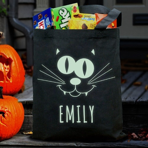 Send your kids out trick or treating with this personalized glow in the dark candy bag!