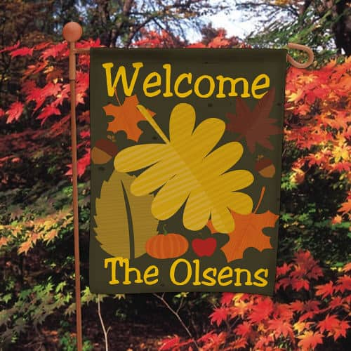 Welcome the trick-or-treaters to your home with this personalized Fall garden sign