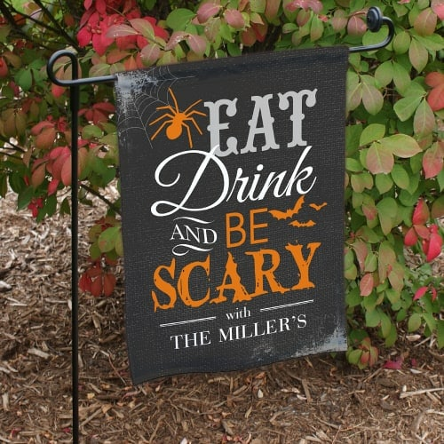 This fun Halloween garden sign can be personalized with your family name!