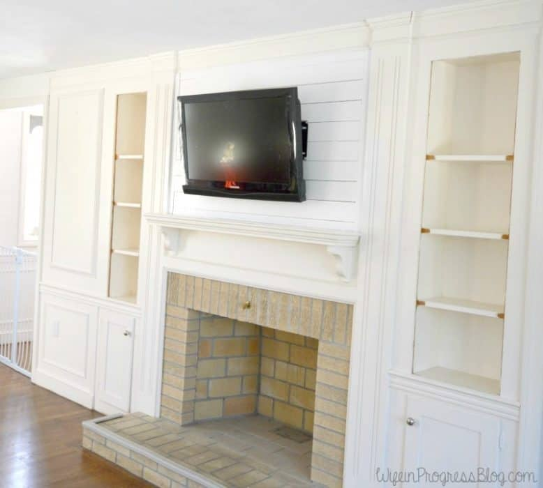 Planked Wall Over Fireplace with TV