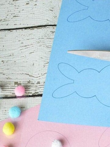 cutting out the bunny shapes