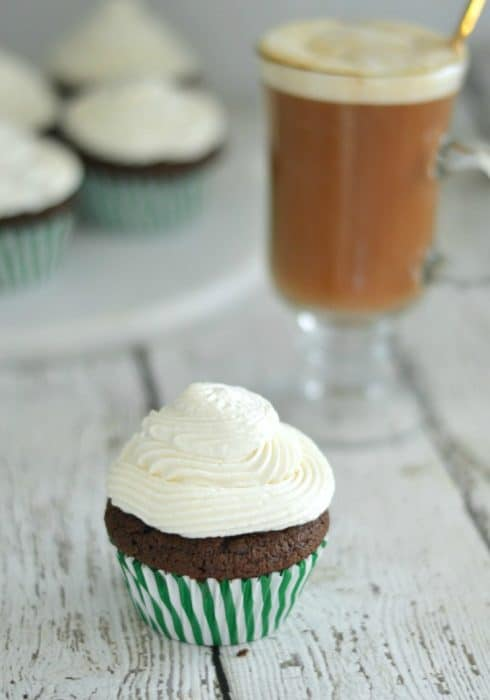 These Irish Coffee Cupcakes are made with a rich chocolate batter and topped with fresh whipped cream