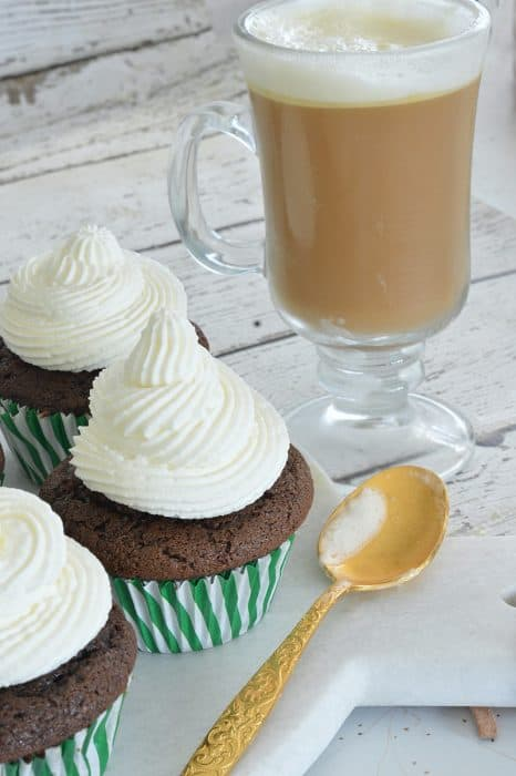 What's a better dessert pairing than these chocolate irish coffee cupcakes and a glass of classic Irish coffee