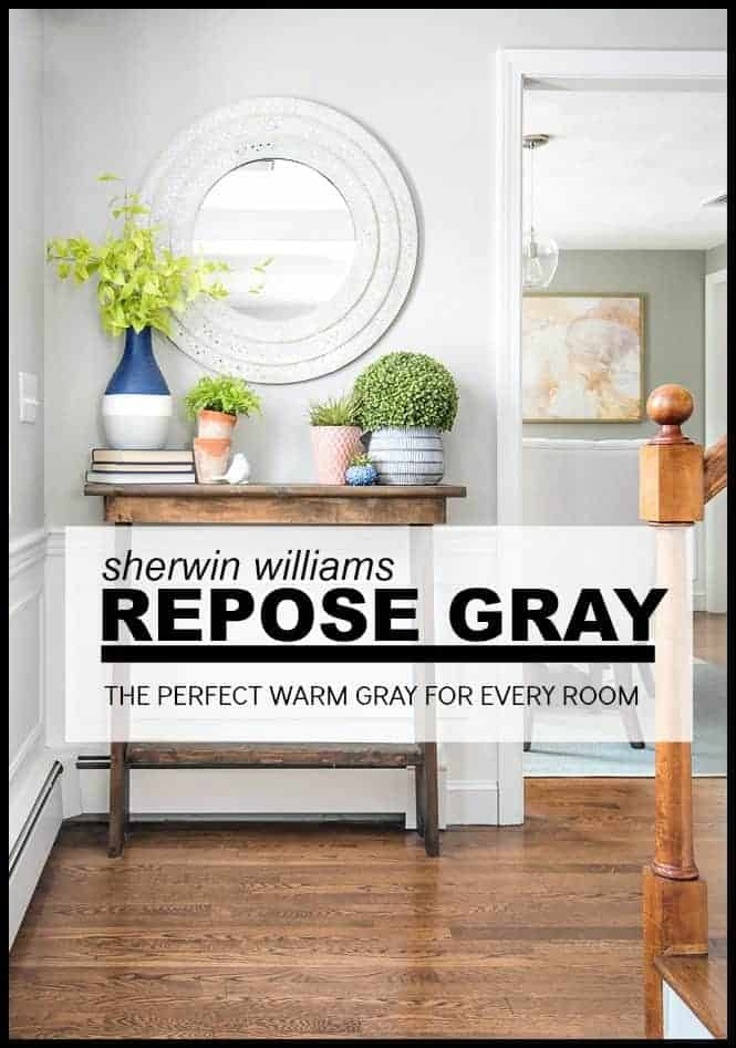 Sherwin Williams Repose Gray is the perfect warm gray for every room in your house. While it has a warmth to it, it's still decidedly gray without being cold.