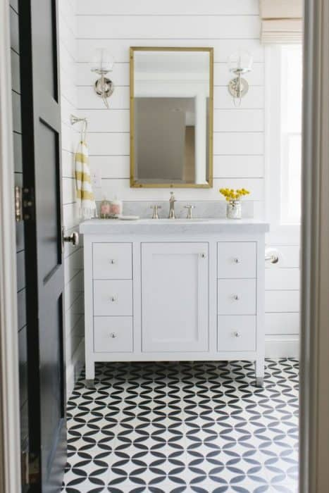 Bathroom inspiration cement tile floor