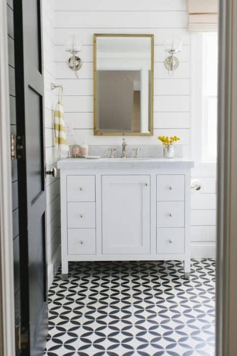 Bathroom inspiration cement tile floor