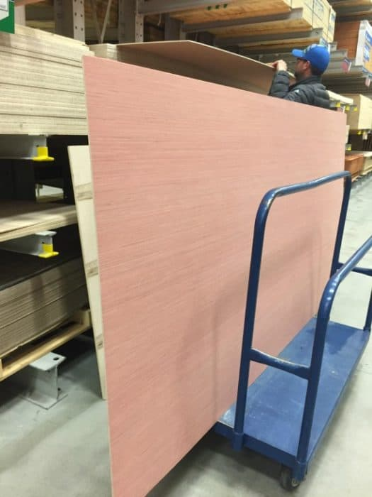 Large sheets of plywood from Lowe's