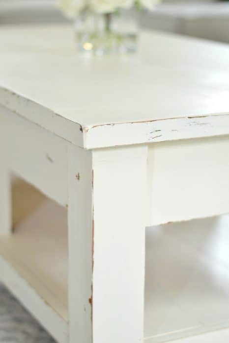 I painted this coffee table with Velvet Finishes paint and distressed with with simple sanded edges