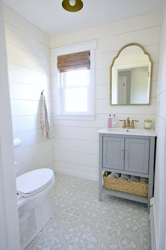 Powder Room Makeover glam farmhouse powder room makeover