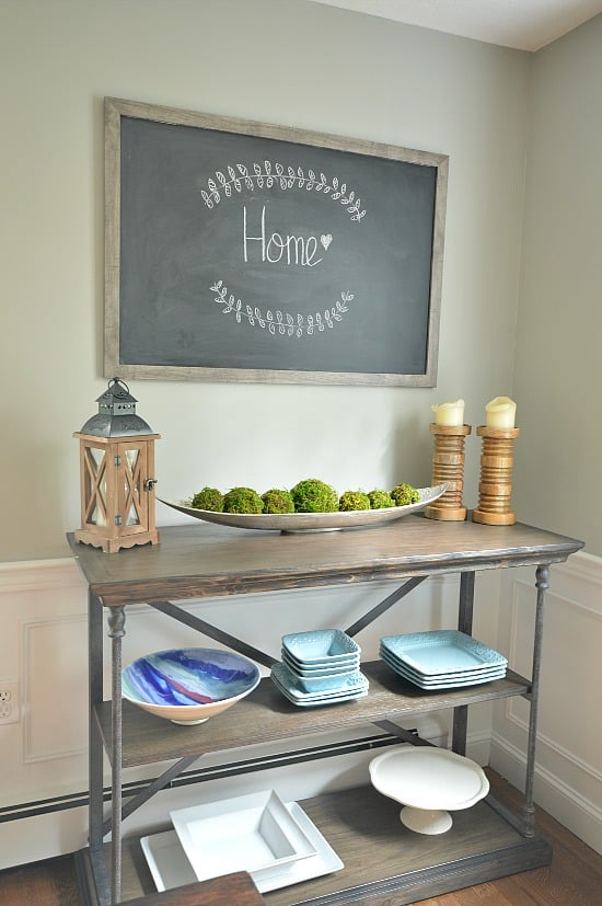 this diy framed chalkboard is simple and cheap to make and adds a wonderful farmhouse feel - Diy Framed Chalkboard