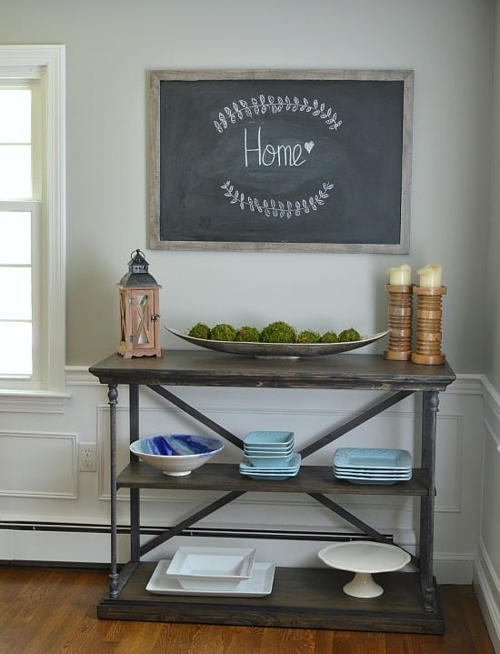 A Large Framed Chalkboard is the perfect DIY project for naptime decorators! It's adds a rustic warmth to my dining room and will look amazing in your home, too!