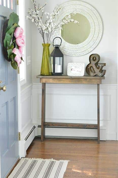 diy table build this simple hall console table for 30. Black Bedroom Furniture Sets. Home Design Ideas