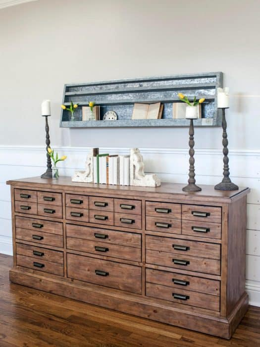 Fixer Upper style dresser with galvanized shelf over it