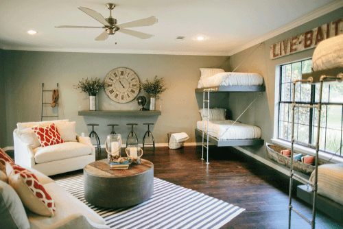 Lovely Living Room With Bunkbeds For Extra Guests And Lots Of Fixer Upper  Industrial Touches