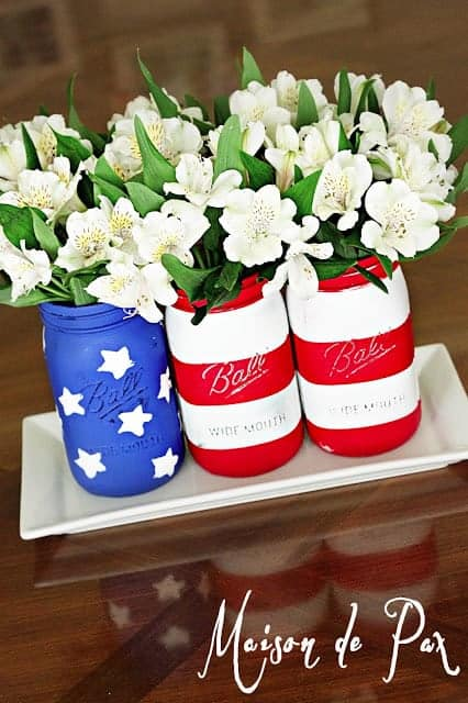 4th july decor mason jars