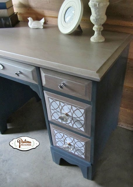 I love the contrast of the sandy brown and navy blue paint on this updated desk!