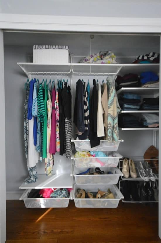 How to organize a small bedroom on a budget - use a closet system