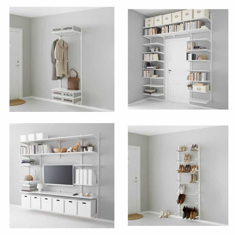 A collage of various closet configuration systems using rods, shelves, drawers and shoe racks