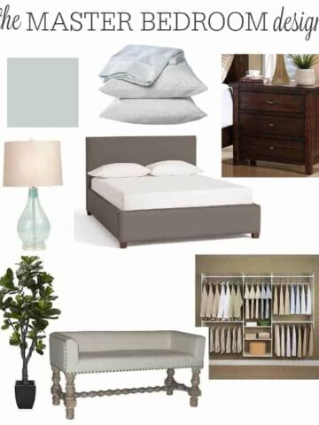 A mood board showing a large, grey bench, a closet organizer system, a dark brown nightstand, a grey upholstered bed, a lamp and a paint shade