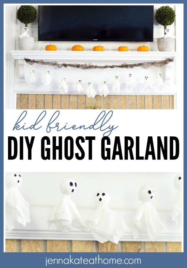 This ghost garland is super easy to make with just tissues and foam balls. Kids will have a blast drawing the faces on and hanging them around the house this Halloween! #halloween #craft #diy #kidfriendly