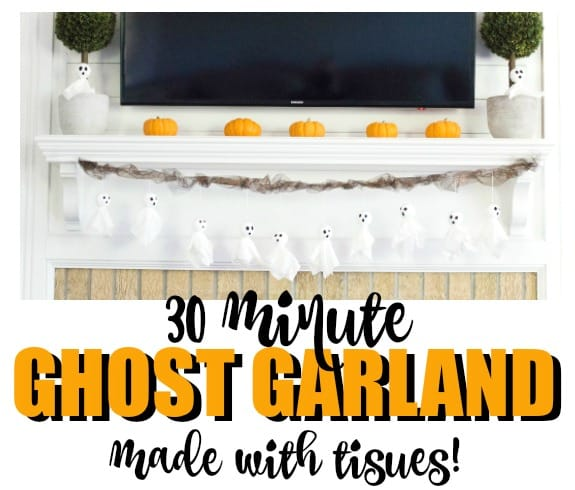 An adorable Halloween ghost garland in under 30 minutes using tissues and foam balls!