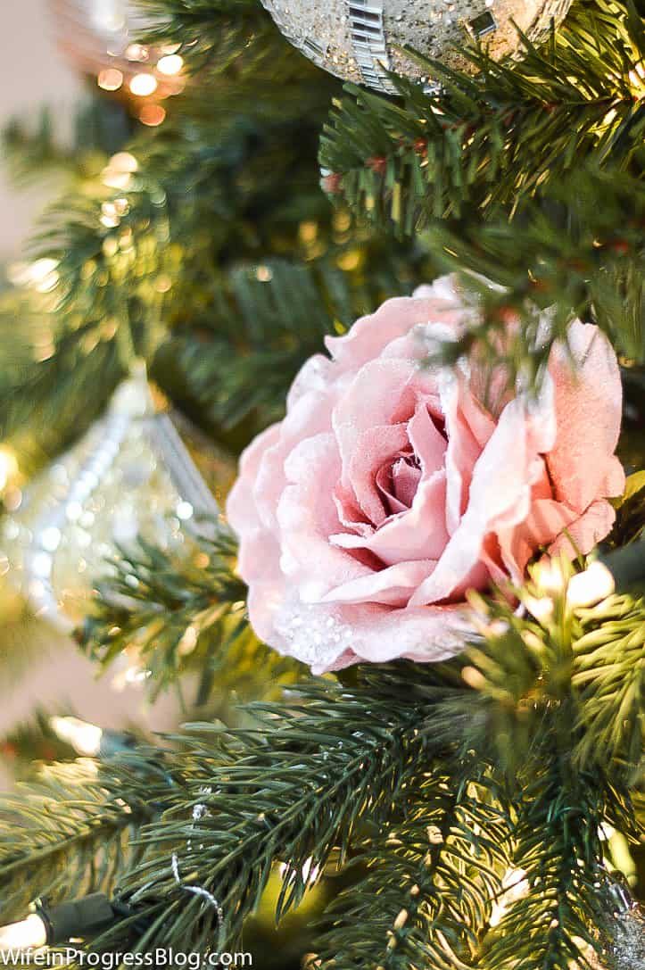 faux pink roses are a non traditional Christmas ornament ideas