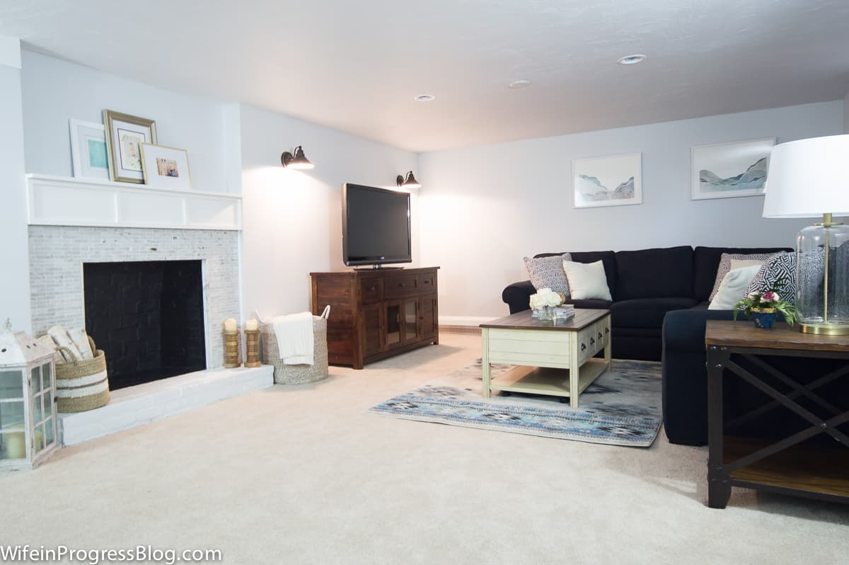Behr reflecting pool basement walls - Paint color for basement with no natural light