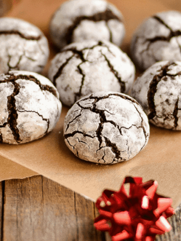 Chocolate crinkle cookies with a gift bow
