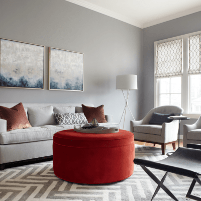 Cohesive color palette in a living room