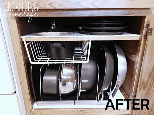Wire racks to organize pots and pans