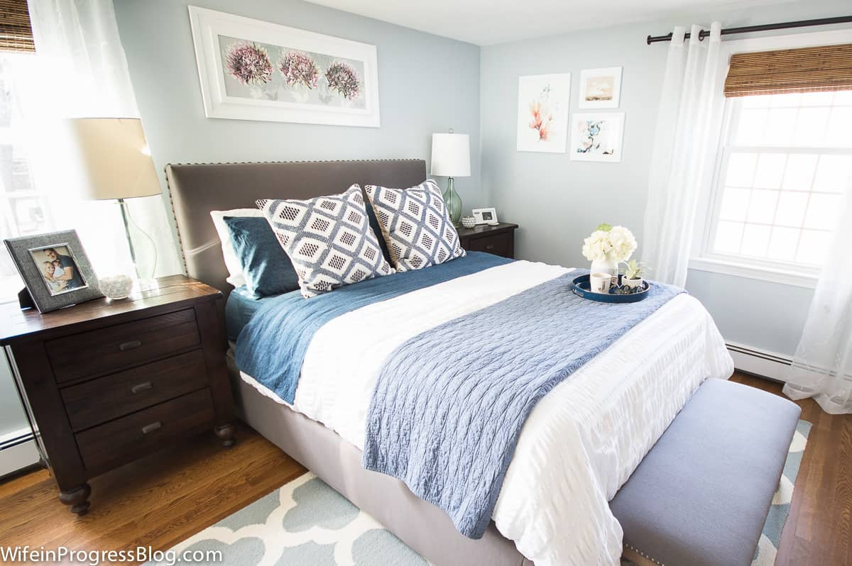 Behr Light French Gray bedroom. Gray blue wall paint.