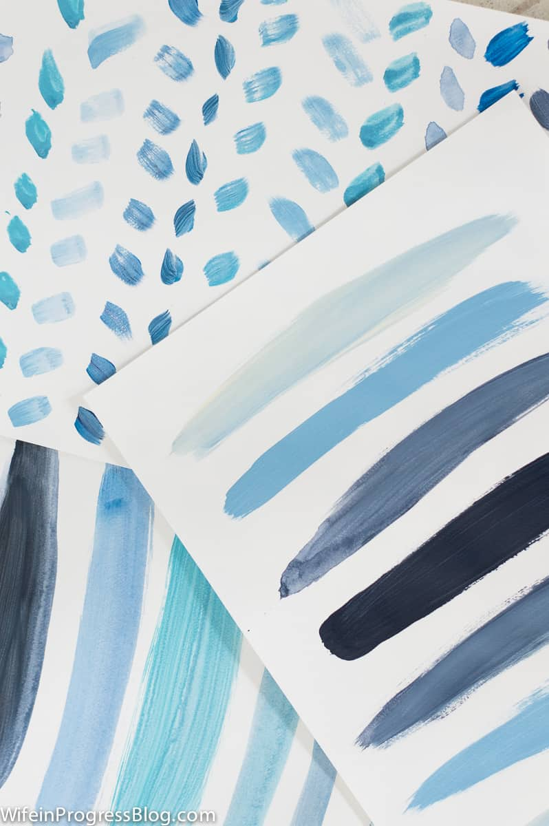Different variations of the blue ombre art