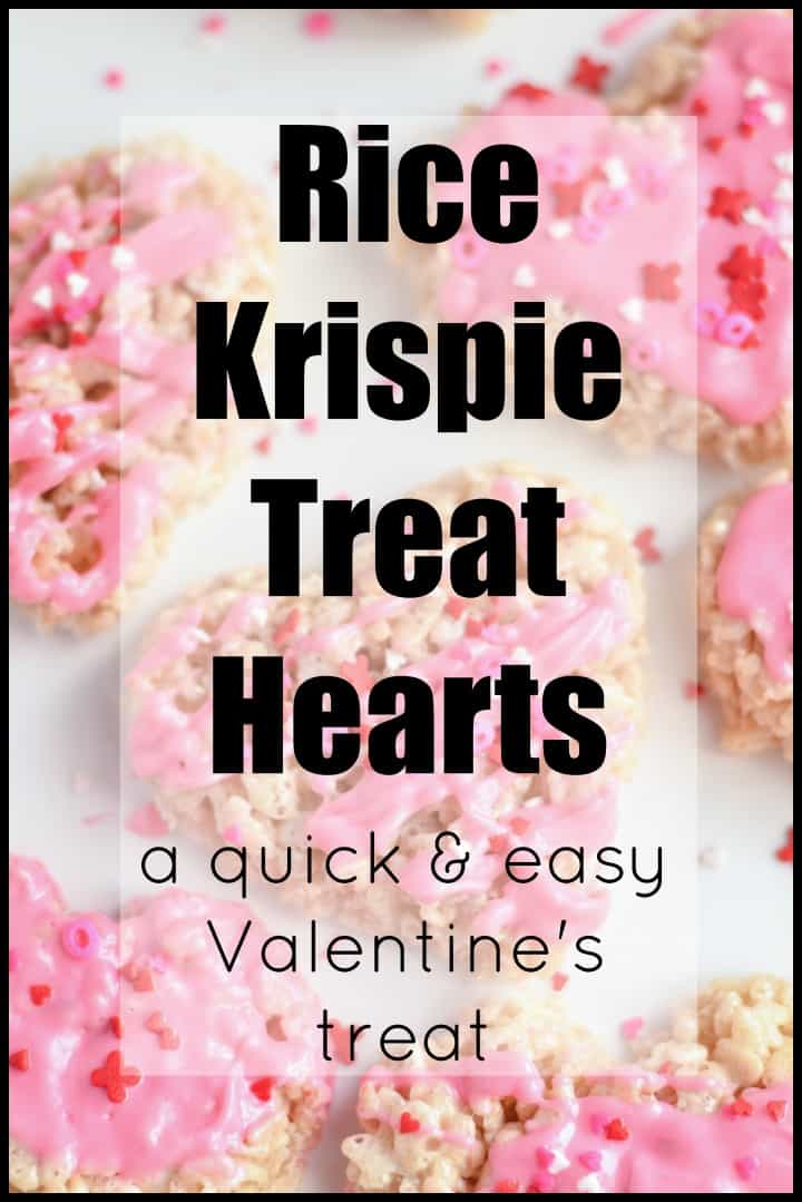 Rice Krispie Treat Hearts - a quick and easy to make Valentine's treat. Click for the recipe!
