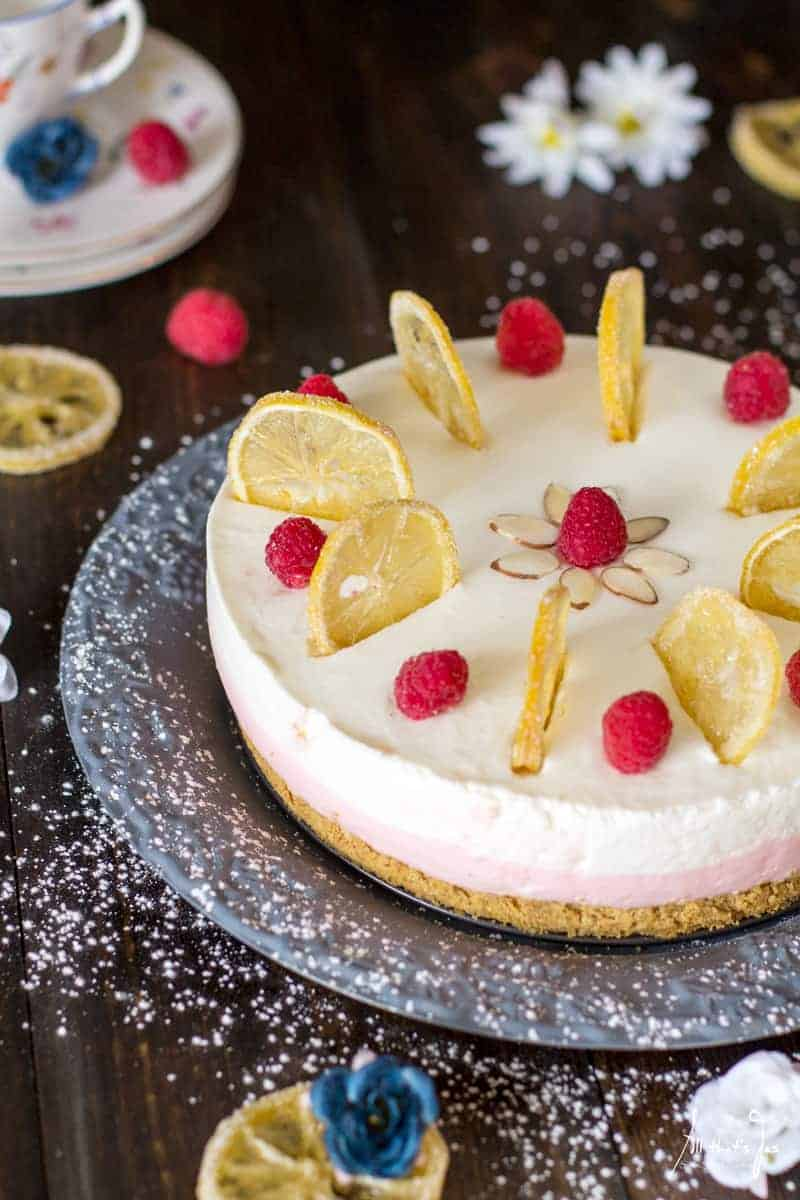 No Bake Cheesecake Recipe: Easter Lemon Raspberry Rare Cheesecake by All That's Jas for Wife in Progress