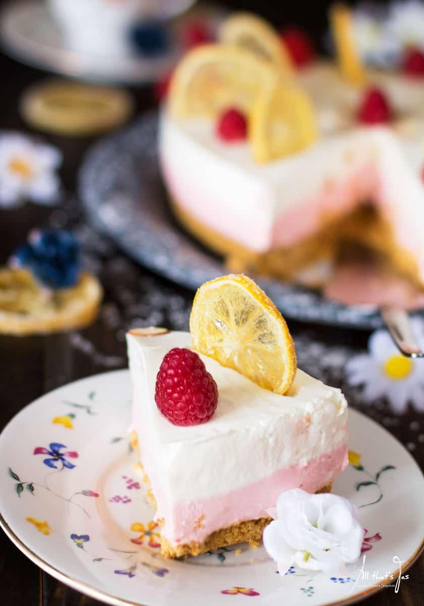 No Bake Cheesecake Recipe: Easter Lemon Raspberry Rare Cheesecake