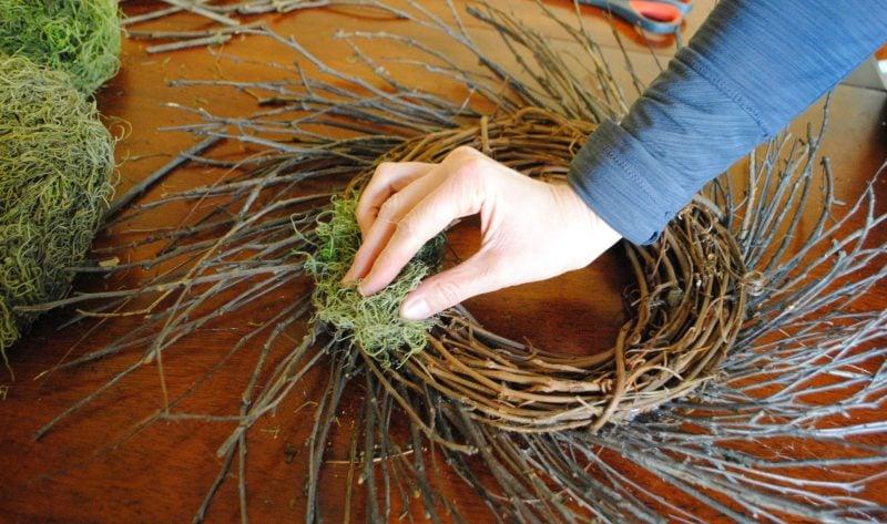 DIY Twig and Moss Wreath