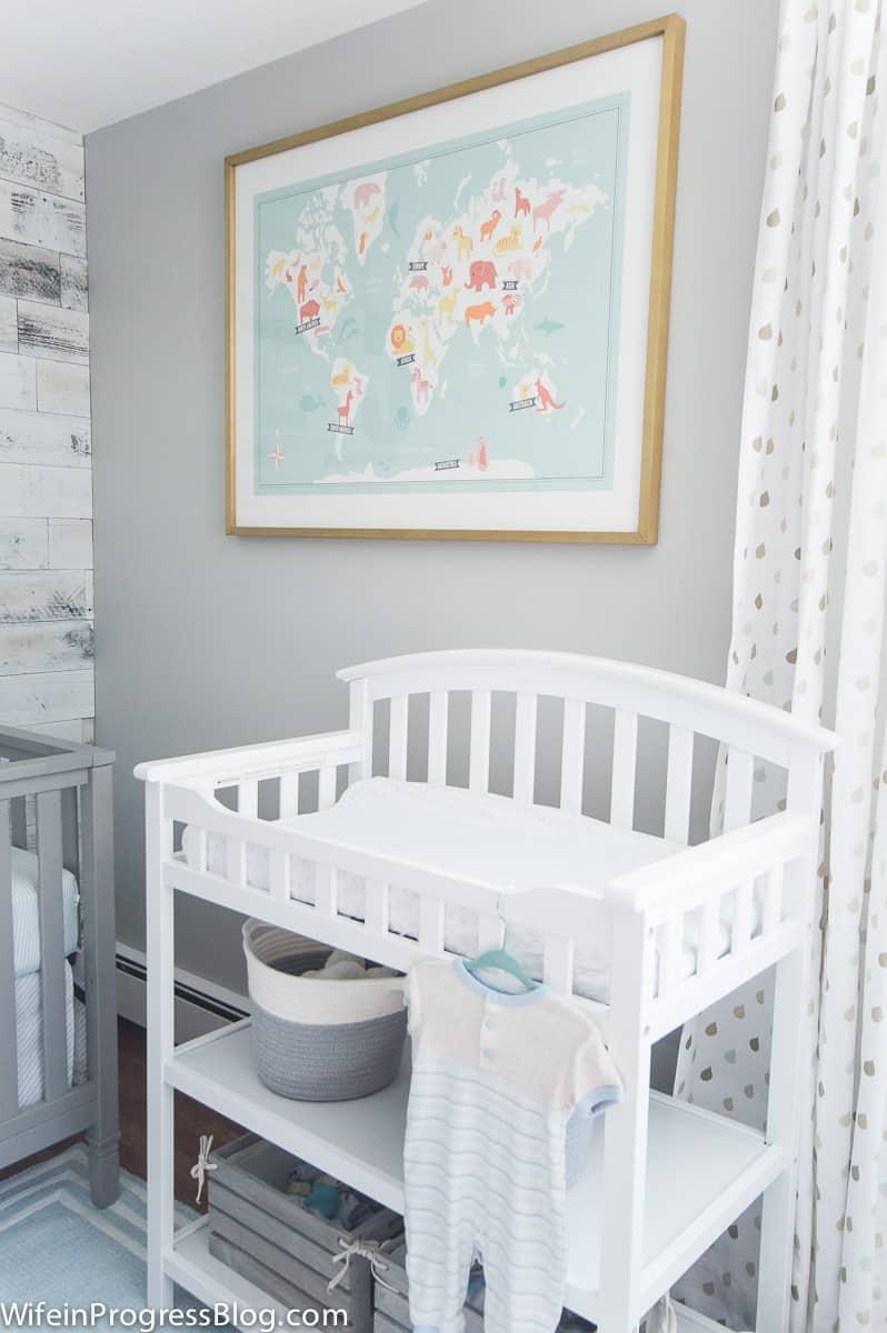Benjamin Moore Stonington Gray nursery walls with animal map print