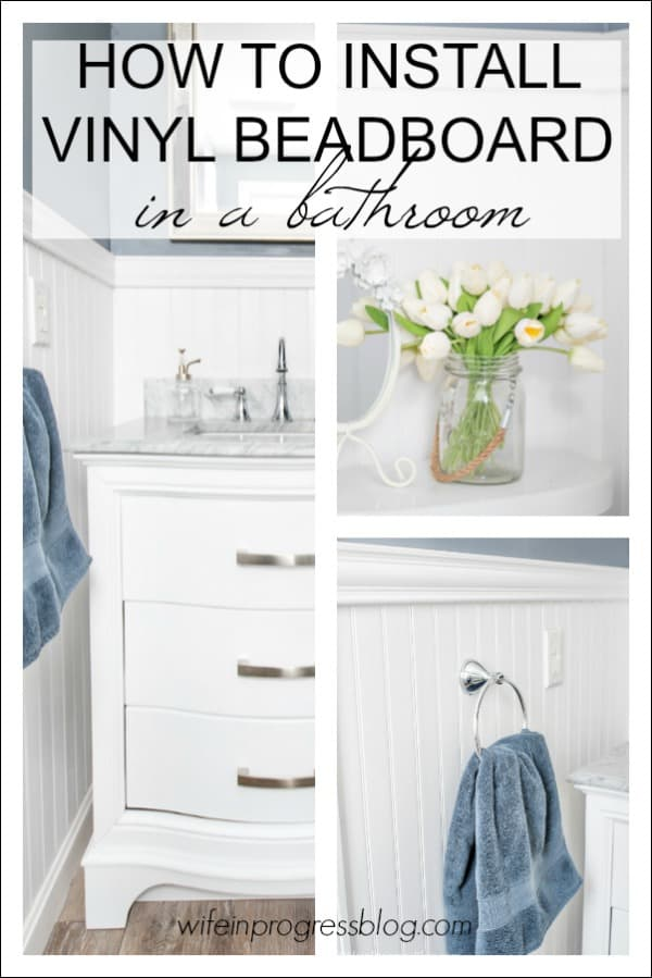 Step by step DIY tutorial showing how to install beadboard in a bathroom over damaged walls.
